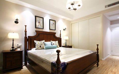 卧室咖啡色床头柜美式风格装修图片