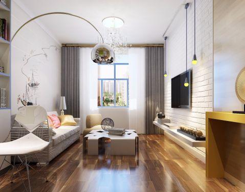 现代简约风格55平米两室两厅新房装修效果图