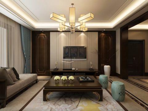 绿城百合145平中式风格三居室装修效果图