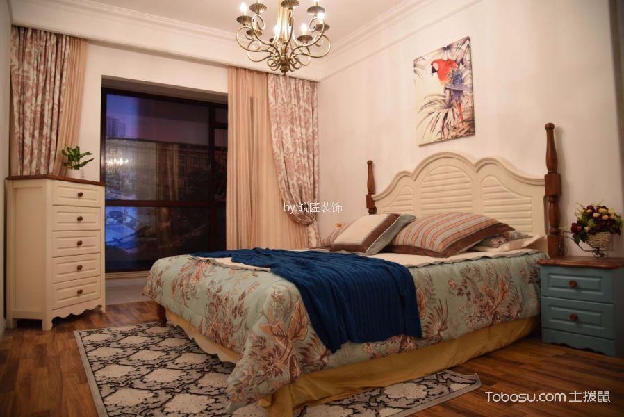 卧室绿色床头柜美式风格装修图片