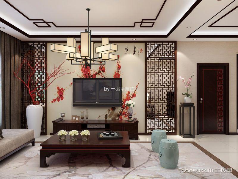 新中式风格89平米三室两厅新房装修效果图