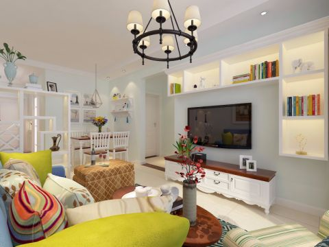 客厅白色电视柜美式风格装潢效果图