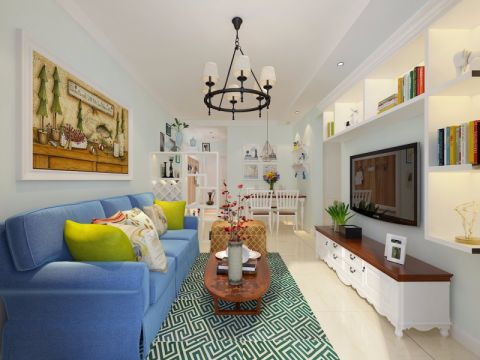 客厅蓝色沙发美式风格装修图片