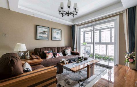 客厅咖啡色沙发现代风格装修设计图片