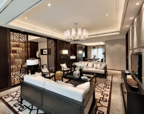 客厅黑色茶几新中式风格装饰效果图