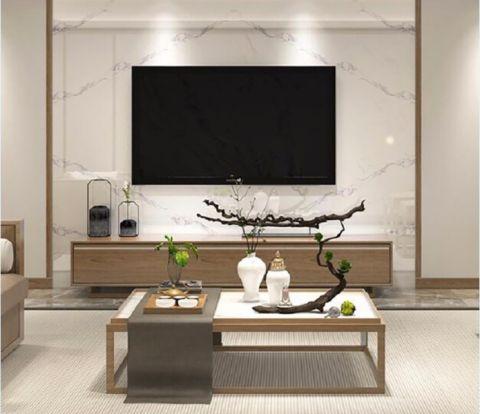 客厅咖啡色电视柜新中式风格装修效果图