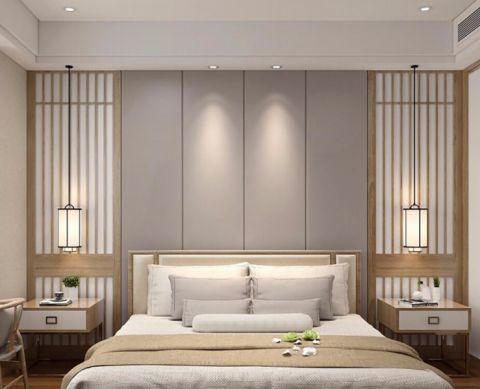 卧室灰色背景墙新中式风格装饰效果图