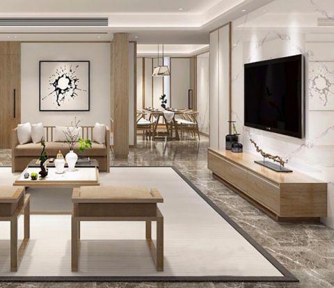 客厅白色茶几新中式风格装潢效果图
