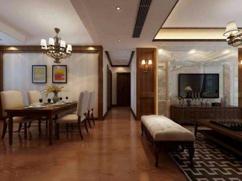 餐厅白色吊顶现代中式风格装潢设计图片
