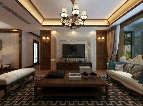 客厅咖啡色茶几现代中式风格装修效果图