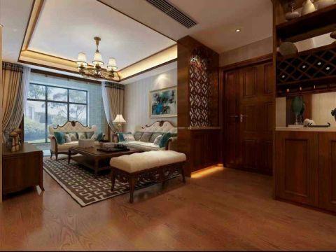 客厅黄色窗帘现代中式风格装潢效果图