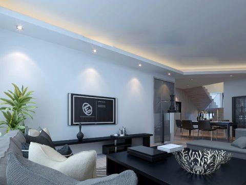 客厅黑色茶几简约风格装饰图片