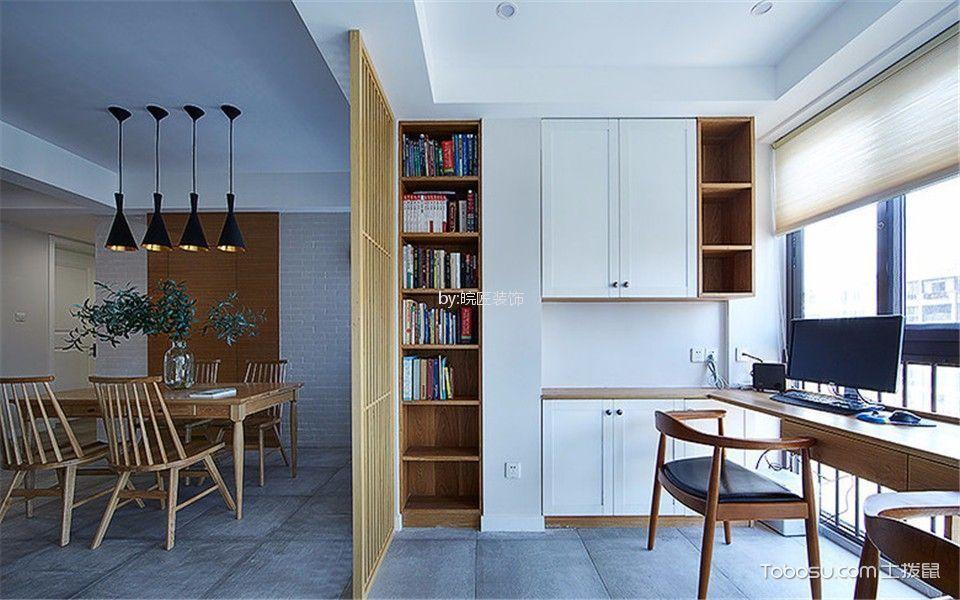 书房咖啡色书桌新中式风格效果图