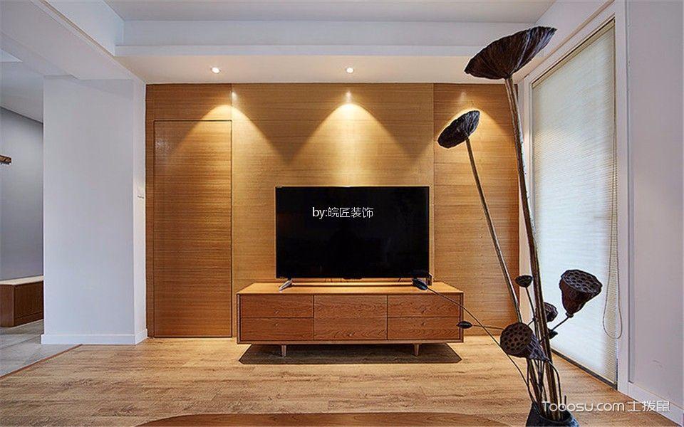 客厅咖啡色电视柜新中式风格装潢效果图
