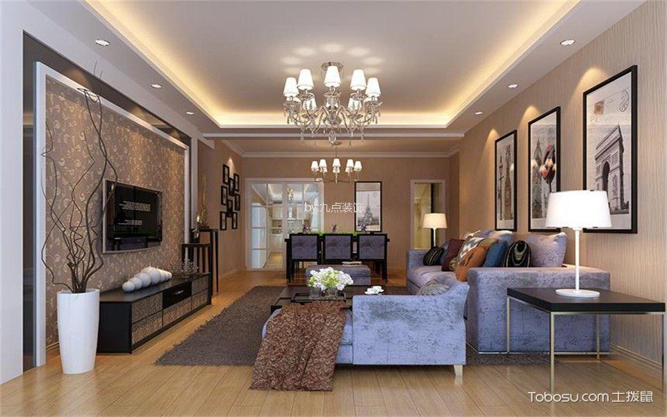 客厅白色吊顶现代风格装饰设计图片