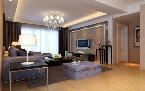 客厅黑色窗帘现代风格效果图
