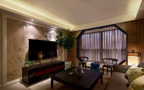 孔雀城中式风格110平二居室装修效果图