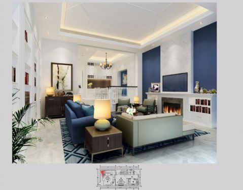 简欧风格320平米别墅新房装修效果图