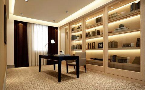 书房咖啡色窗帘现代简约风格装修设计图片