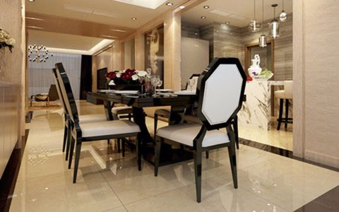 餐厅黑色餐桌现代简约风格效果图