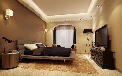 卧室灰色床现代简约风格装修效果图