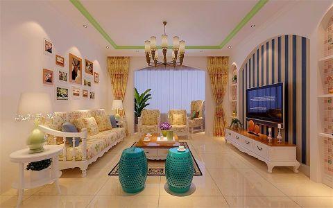 客厅黄色窗帘田园风格装修图片