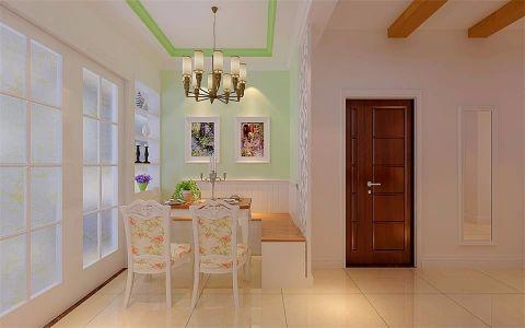 餐厅白色餐桌田园风格装修设计图片