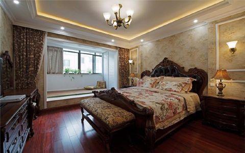 卧室红色床美式风格装潢效果图