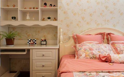 卧室彩色背景墙美式风格装饰图片