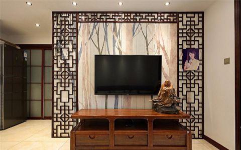 客厅咖啡色电视柜中式风格装饰效果图