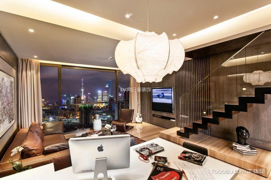 客厅 吊顶_东方罗马花园80m²现代风格复式装修效果图