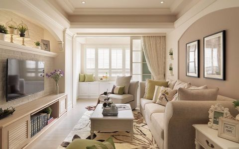 客厅窗帘美式风格装修效果图