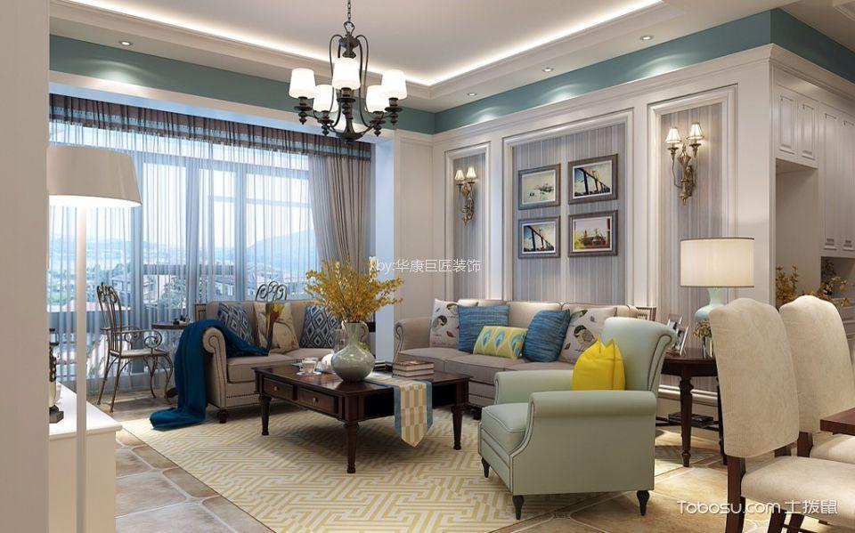 120平美式风格四居室装修效果图