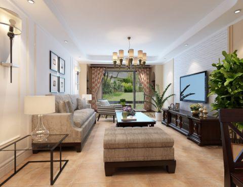 田园风格136平米三室两厅新房装修效果图