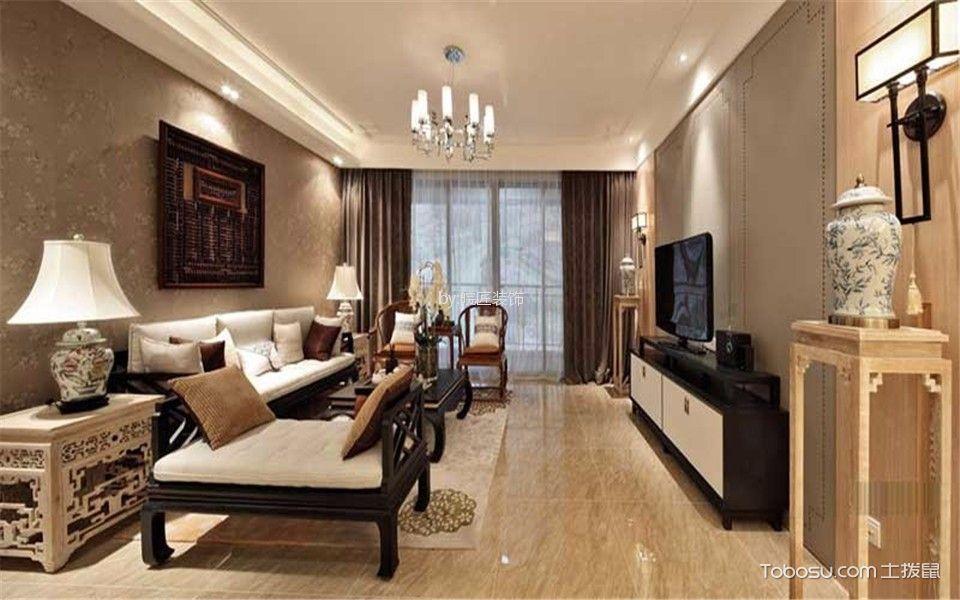 客厅白色电视柜新中式风格装修图片