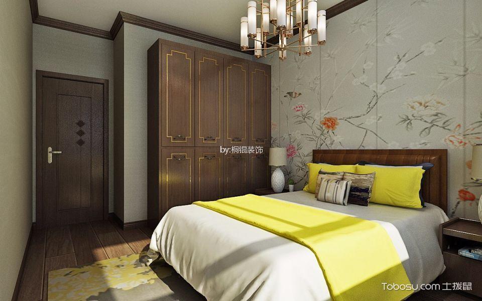 新中式风格73平米两室两厅新房装修效果图