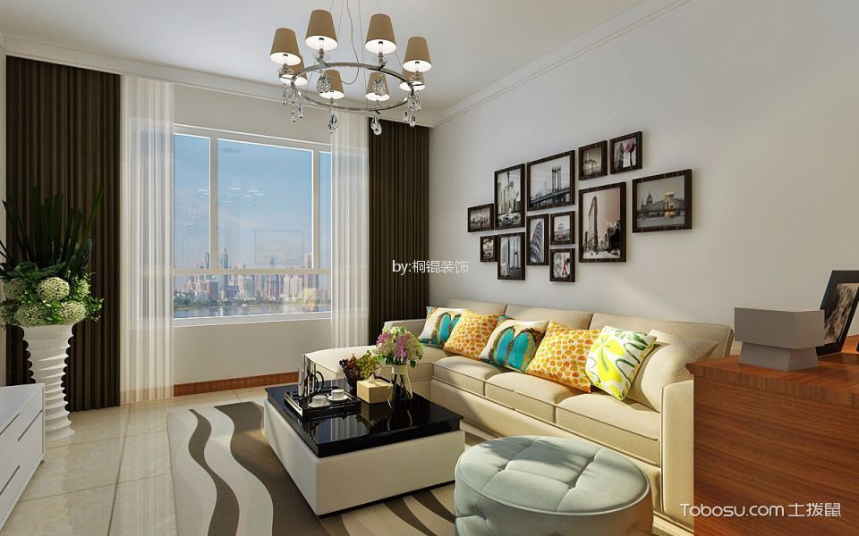 现代风格65平米两室一厅新房装修效果图