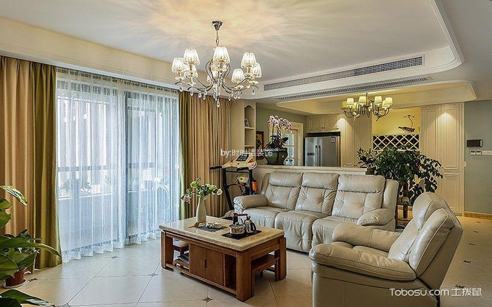 客厅黄色窗帘美式风格装饰图片