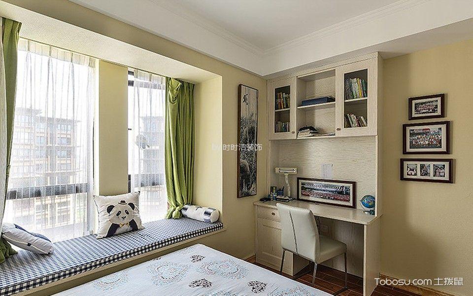 卧室白色书桌美式风格装潢图片