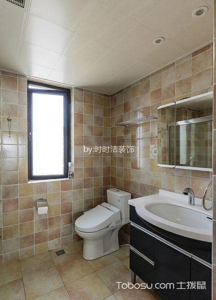 卫生间橙色地砖美式风格装修设计图片
