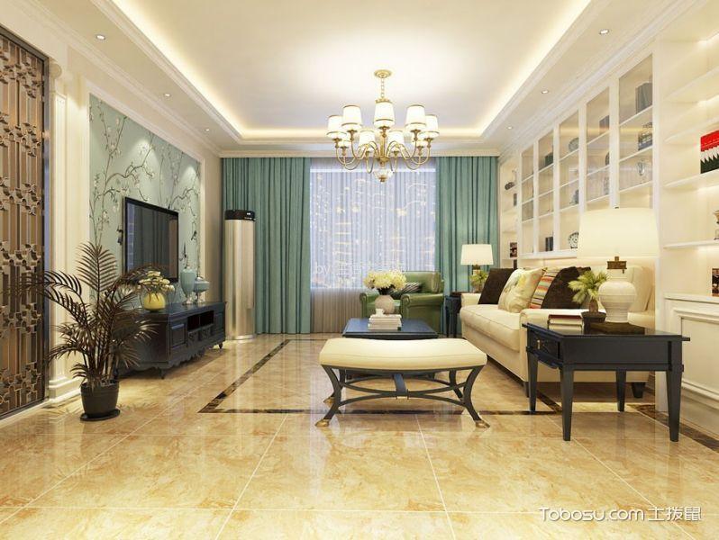 客厅白色博古架现代简约风格装饰效果图