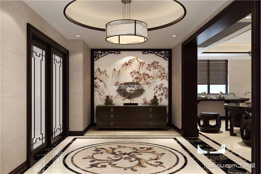 玄关白色地砖新中式风格装饰设计图片
