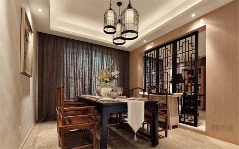 富丽新中式黑色餐桌装修实景图