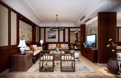 邕江御景新中式风格三居室装修效果图