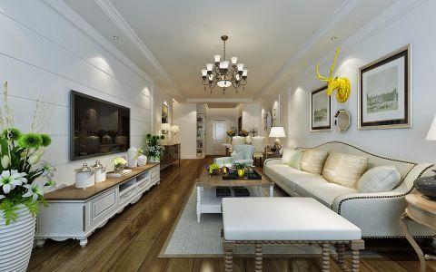 客厅白色照片墙美式风格装饰设计图片