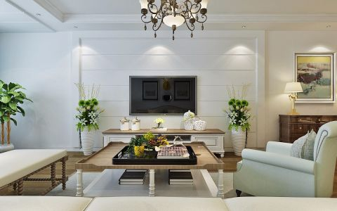 客厅白色美式风格装修效果图