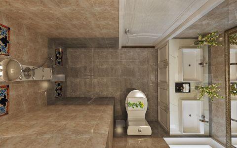 卫生间咖啡色美式风格装修图片