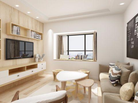 客厅白色茶几日式风格装修图片