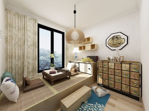 卧室咖啡色榻榻米日式风格装潢图片