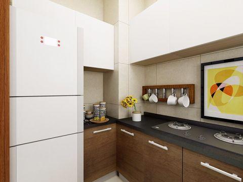 厨房咖啡色橱柜日式风格装修设计图片